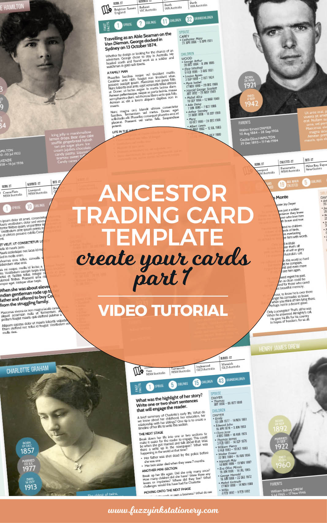 Fuzzy Ink Stationery Ancestor Trading Card Template Create Your Cards part 1 Tutorial