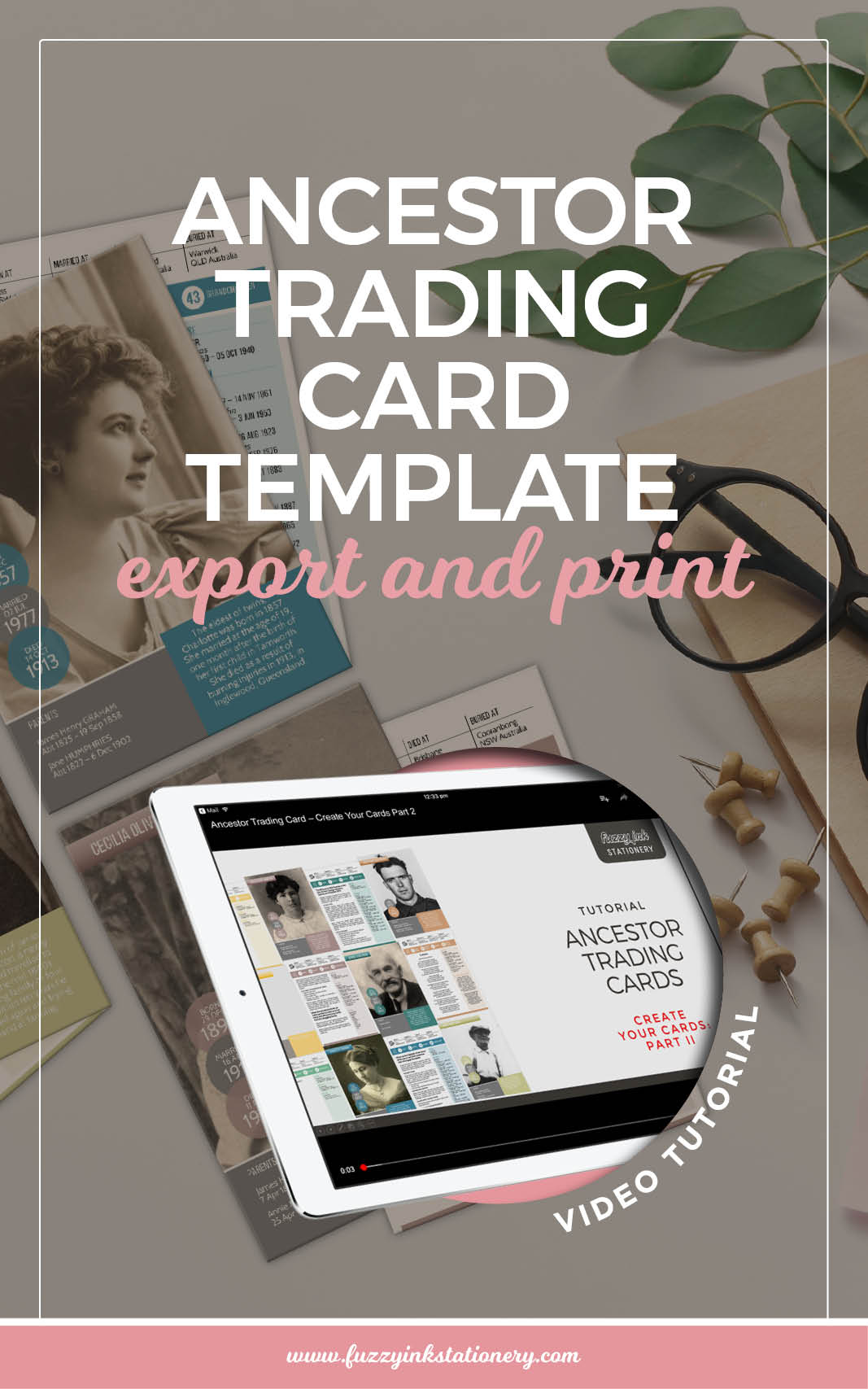 Fuzzy Ink Stationery Ancestor Trading Card Template Export and Print Video Tutorial