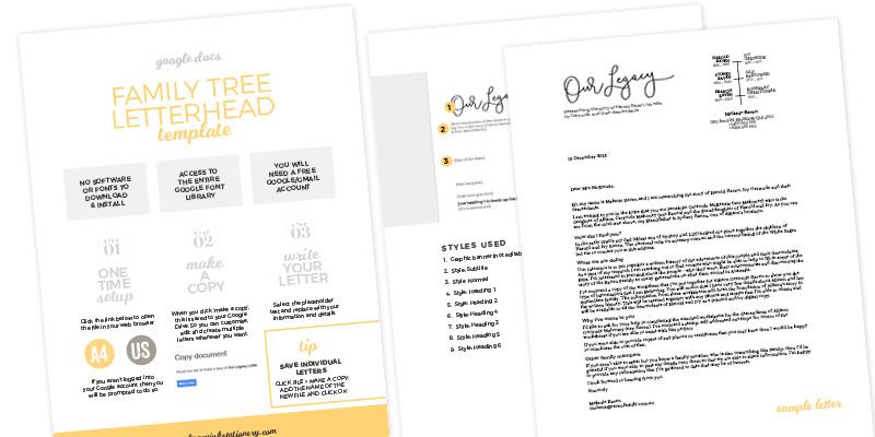Fuzzy Ink Stationery Family Tree Letterhead Google Docs template