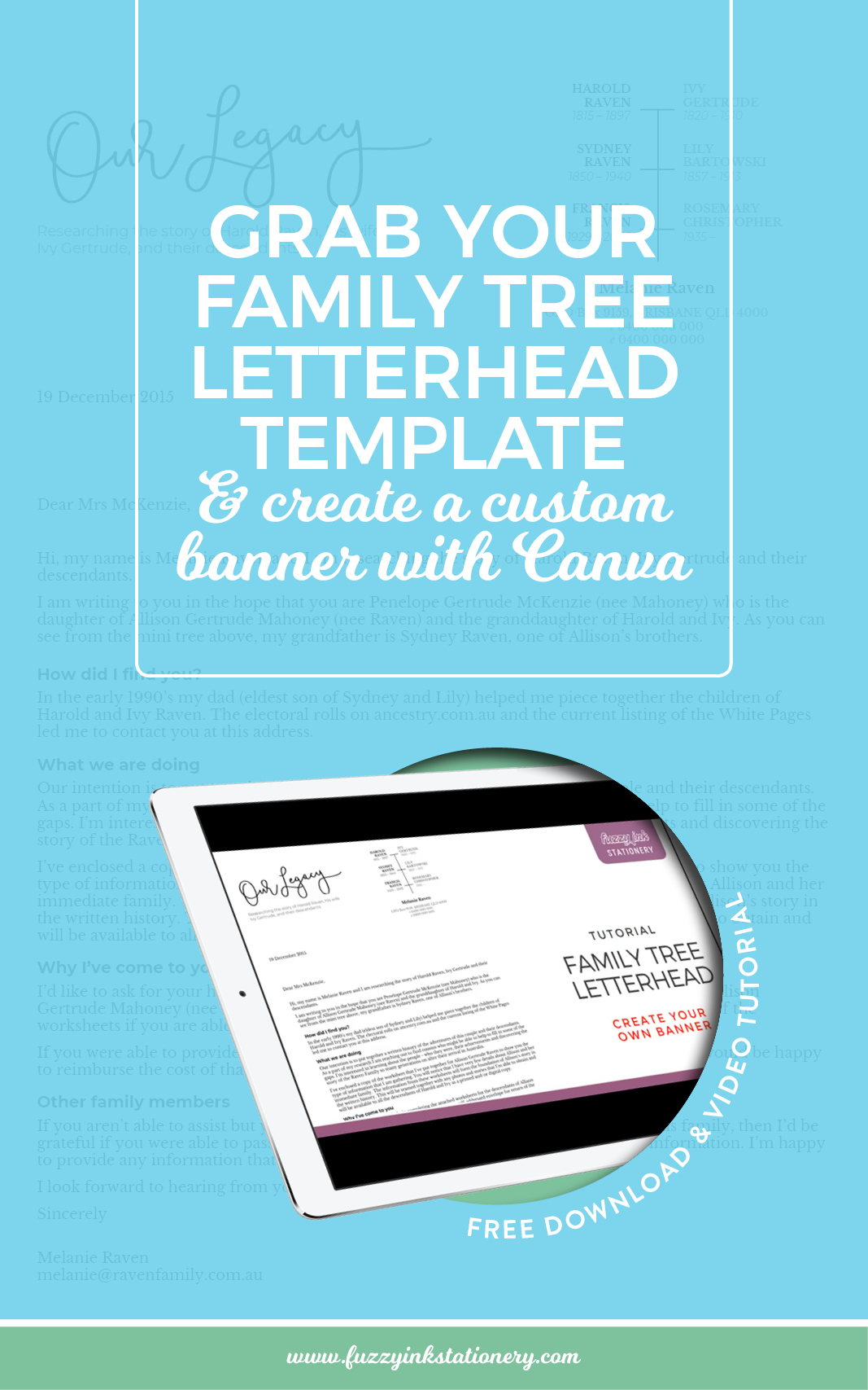 Grab Fuzzy Ink Stationery's Family Tree Letterhead template for Google Docs and correspond with relatives to complete your genealogy research. Perfect for family history researchers and everyone building their family tree.