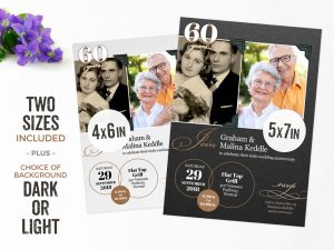 Fuzzy Ink Stationery 60th Anniversary Invitation Template for Microsoft PowerPoint.
