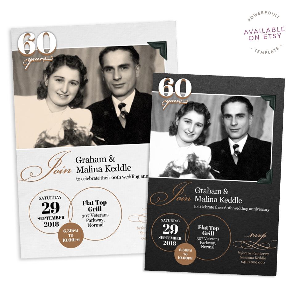 Fuzzy Ink Stationery Single Image Photo Album 60th Anniversary Invitation