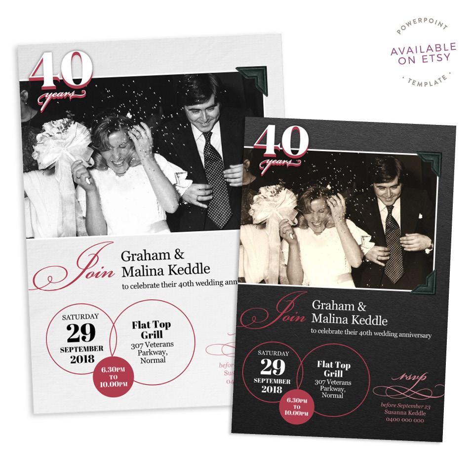 Fuzzy Ink Stationery Single Image Photo Album 40th Anniversary Invitation