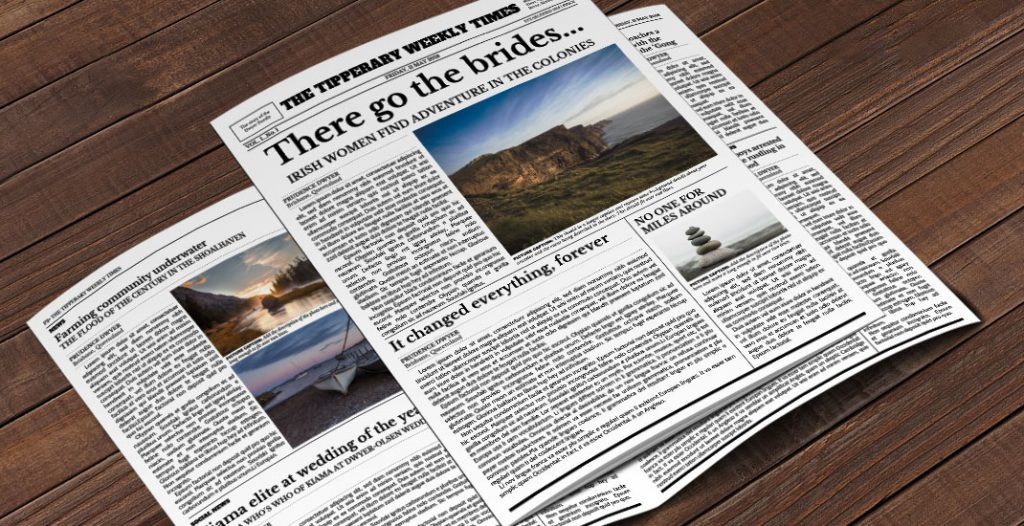 Fuzzy Ink Stationery two-page family history newspaper template for Google Slides