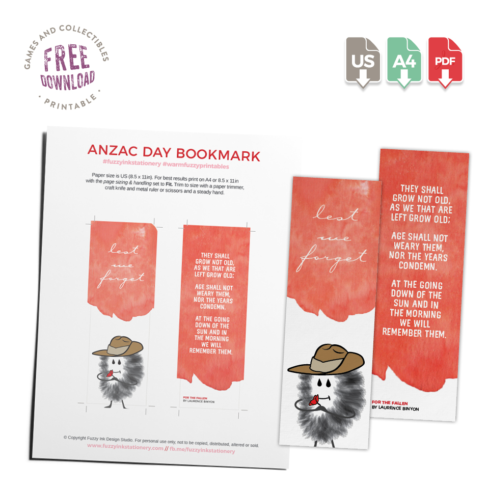 Fuzzy Ink Stationery Resource Library Download Anzac Day Bookmark