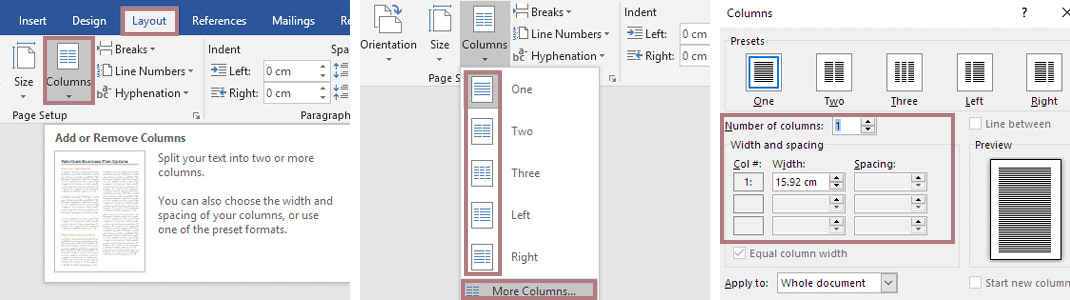 Fuzzy Ink Stationery | Software Quick Tips | 9 setup secrets for Using Microsoft Word | Columns