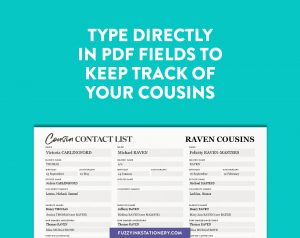 Fuzzy Ink Stationery Cousin Contact List