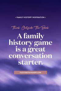 Think outside the book | Get creative and turn your ancestors stories into a family history game #ancestors #familyhistory #storytelling #games