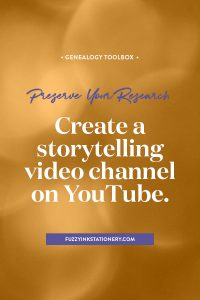 Preserve your research for the future generations by creating audio or video stories on YouTube #genealogy #ancestors #familyhistory #video #YouTube