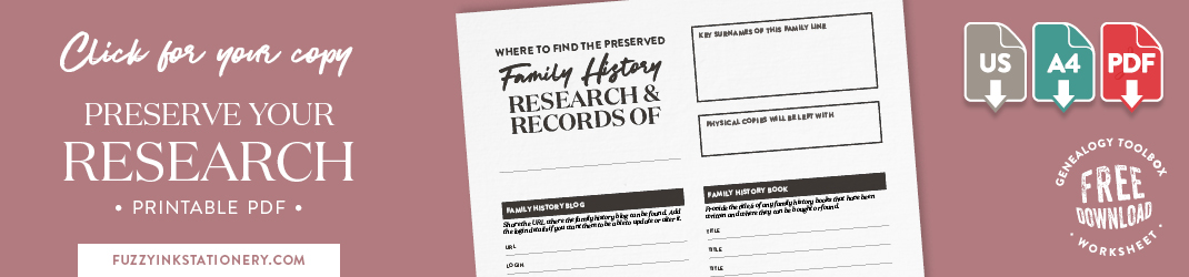 Fuzzy Ink Stationery Genealogy Toolbox – Preserve Your Research Log promo