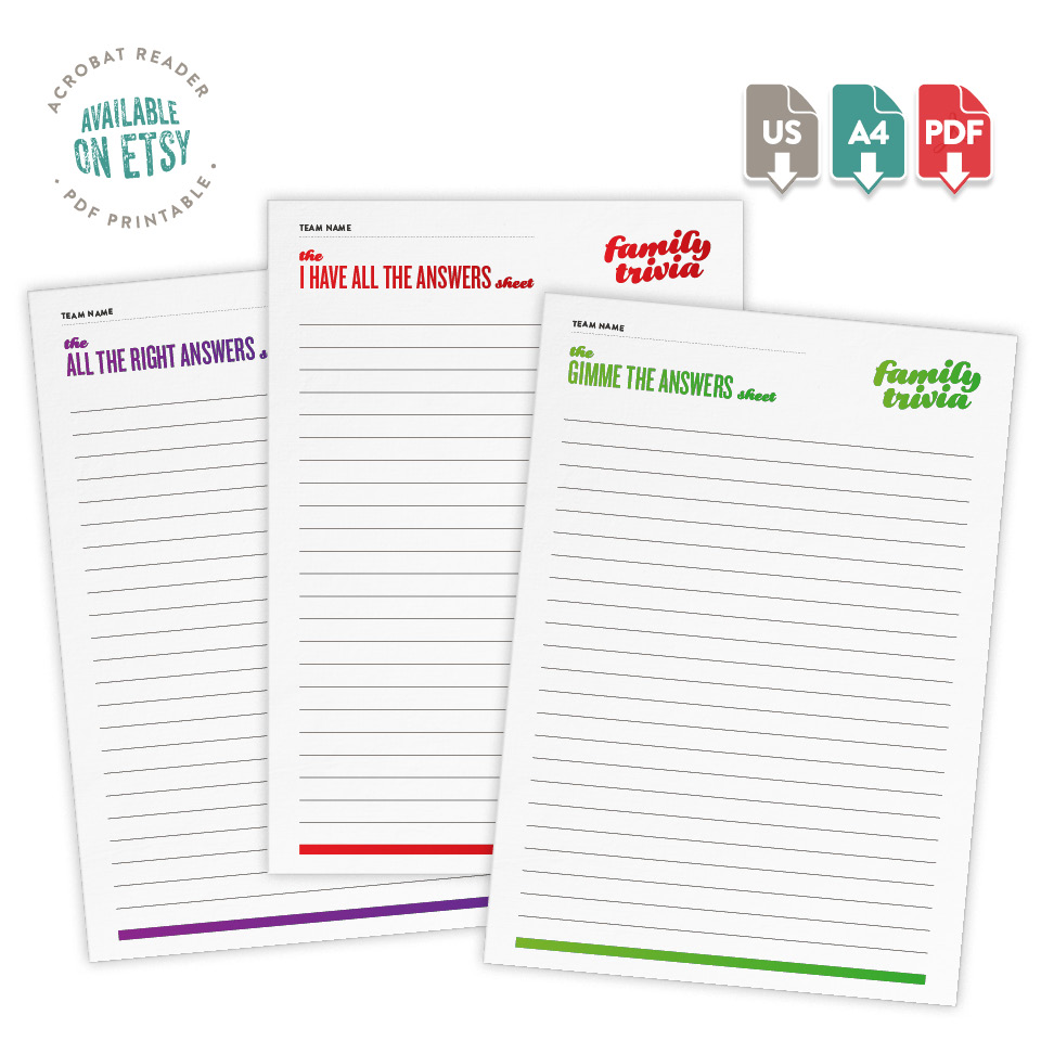 Fuzzy Ink Stationery Printable | Available on Etsy | Classic Family Trivia Answer Sheets