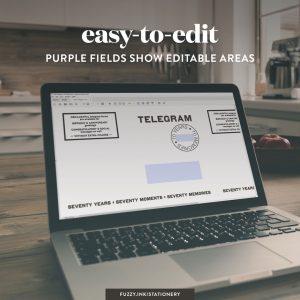 70th birthday memory telegrams editable fields