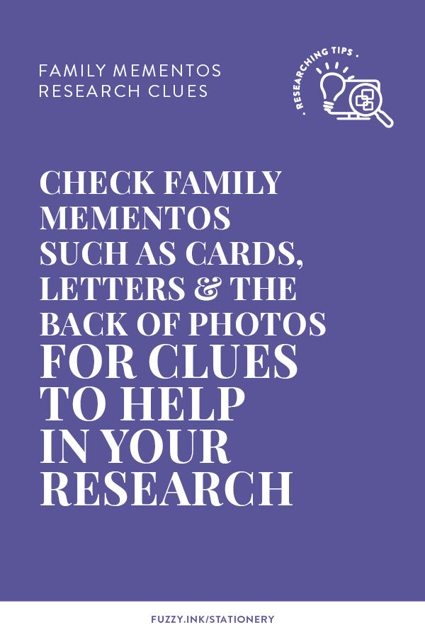 Stuck with what to do next in your genealogy research? Check family mementos such as cards, letters and the back of photos for clues to help in your research #genealogy #familyhistory #research #clues