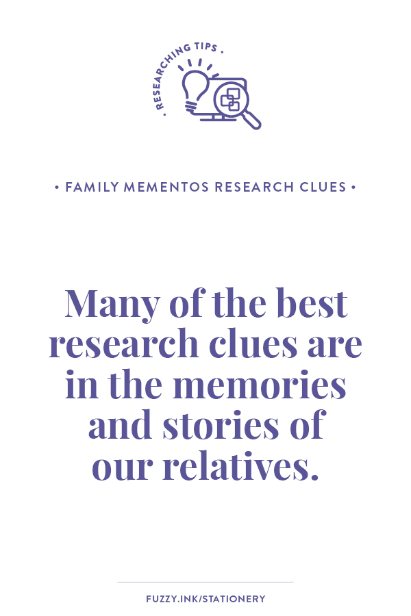 Stuck or not sure what to do next in your hunt to find your ancestors? Many of the best research clues are in the memories and stories of our relatives. #genealogy #familyhistory #research #clues