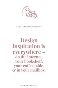 Design inspiration is everywhere. When planning your family history or ancestors stories look everywhere - on the internet, your bookshelf, your coffee table and in your mailbox. #familyhistory #designtips