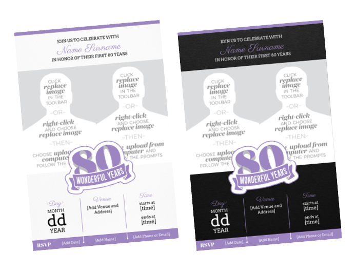 Wonderful Years Invites | Choose Your Size