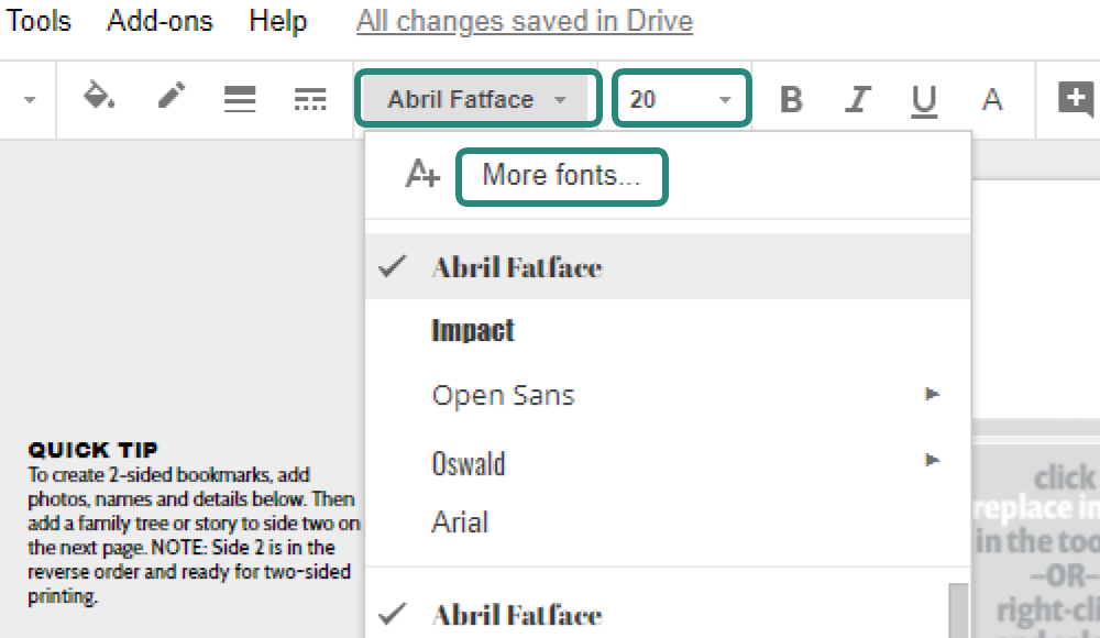 Google Slides Google Docs screenshot of how to change the font