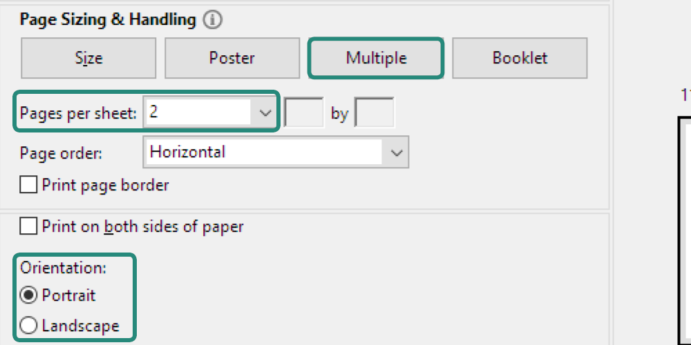 Screenshot of page size settings in PDF print screen for 2-up