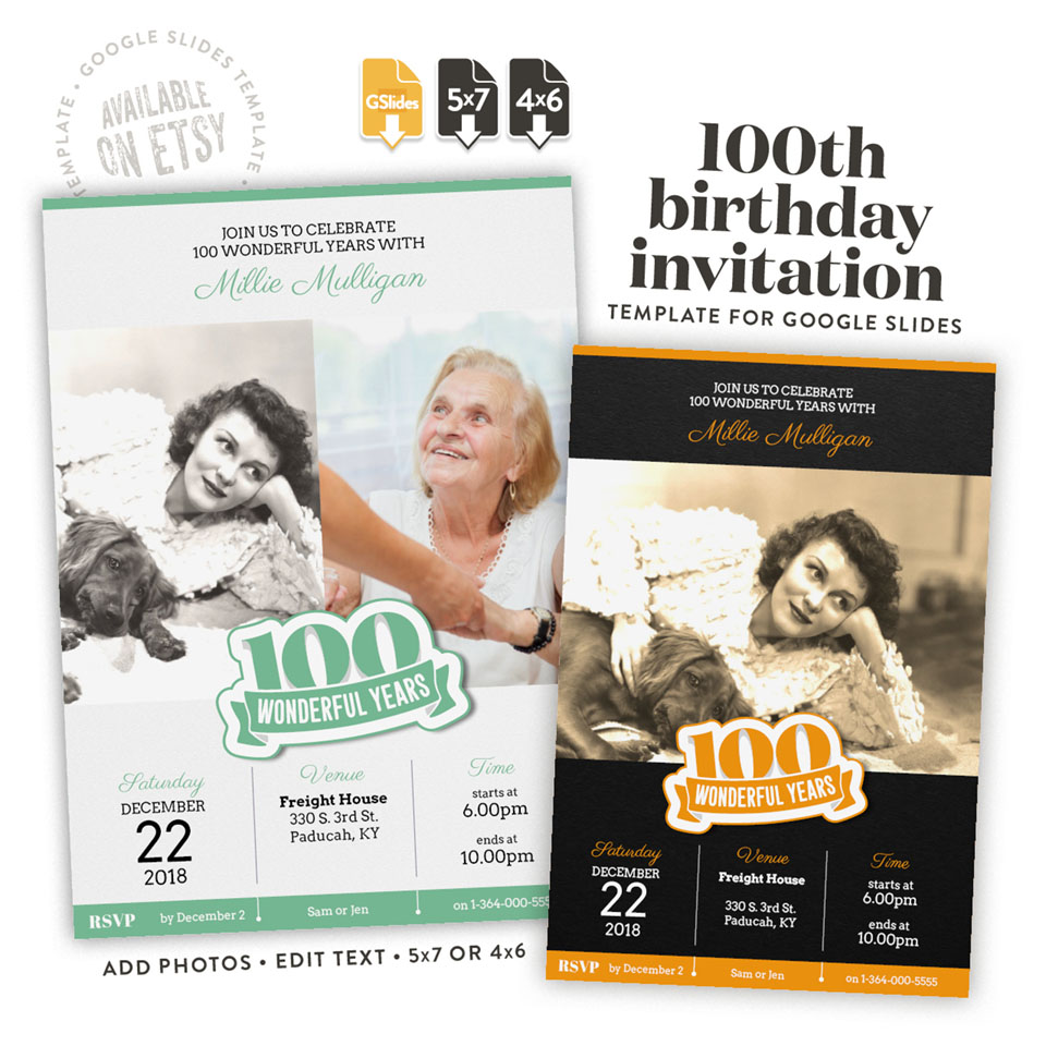 100 wonderful years – a 100th birthday invitation template for Google Slides available on etsy in 4x6 and 5x7