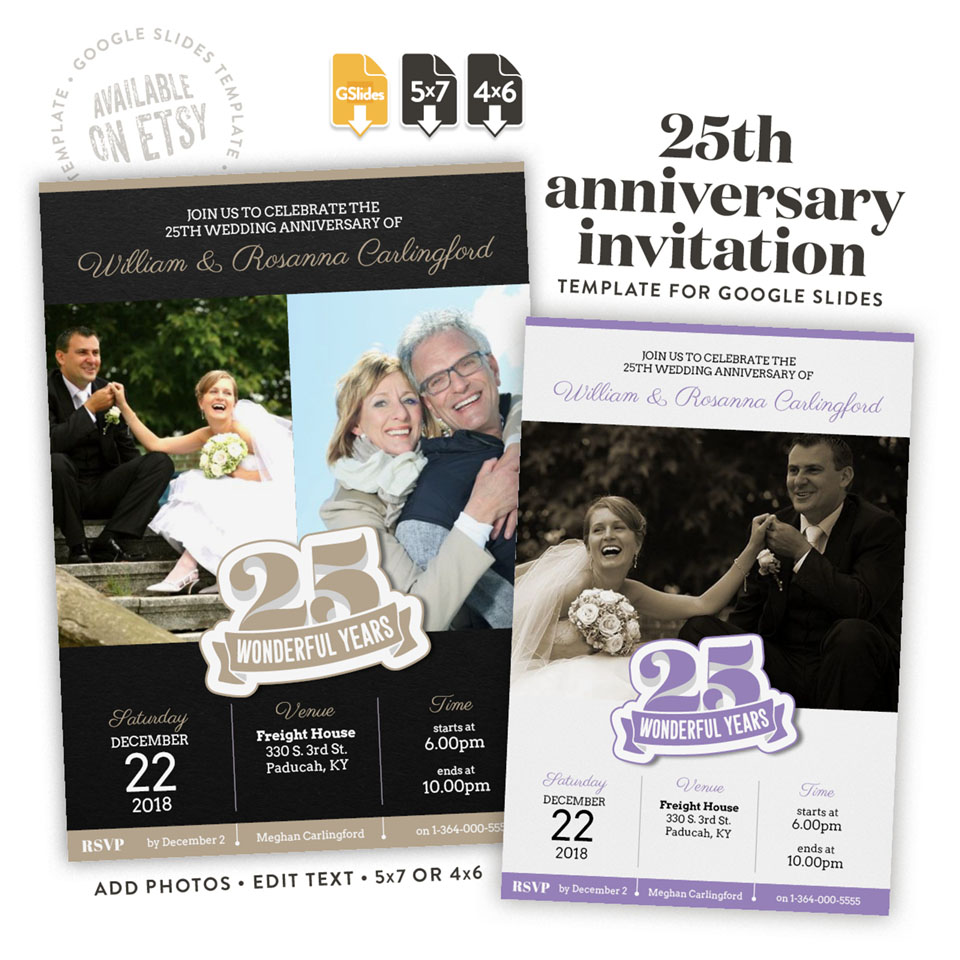 25 wonderful years – a 25th anniversary invitation template for Google Slides available on etsy in 4x6 and 5x7