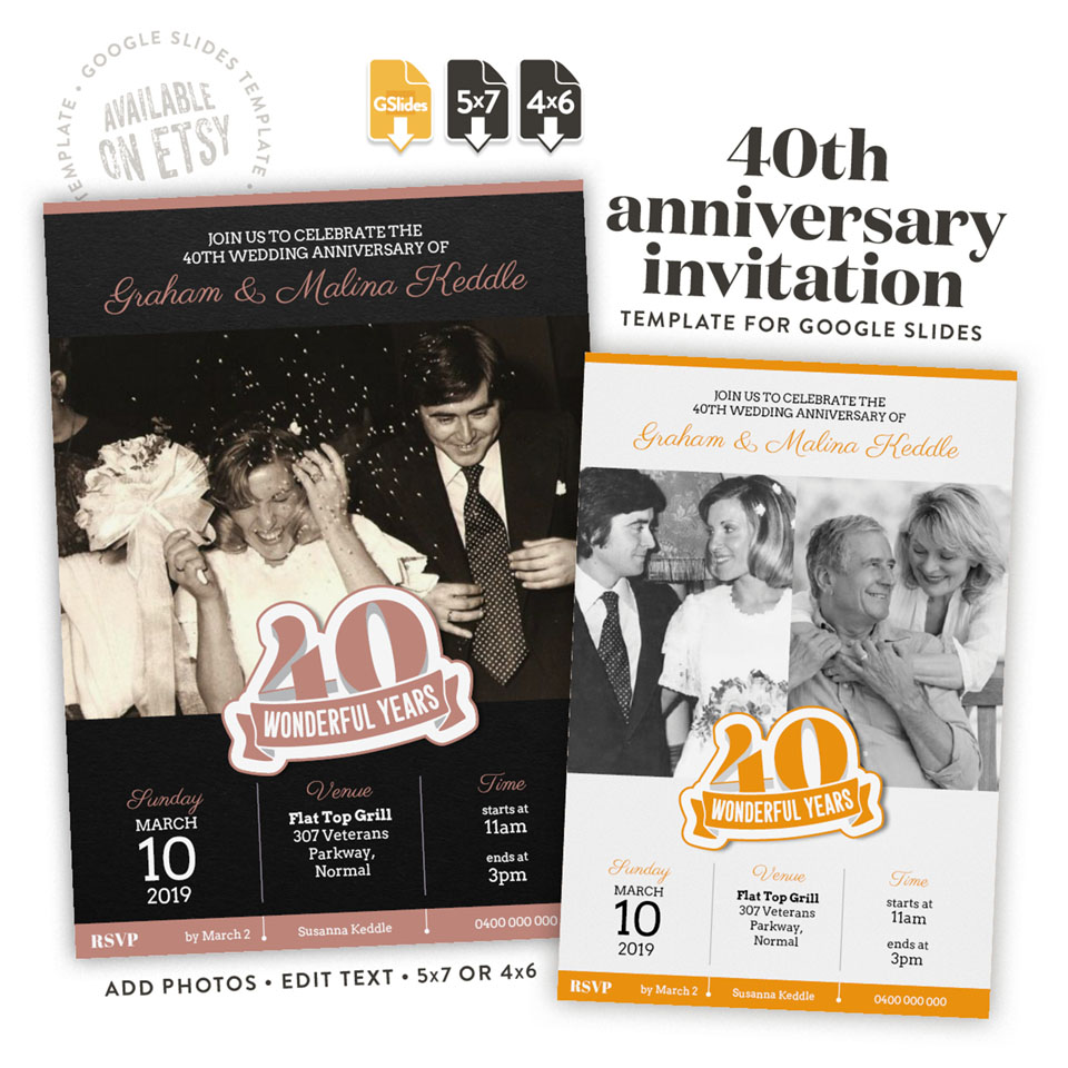 40 wonderful years – a 40th anniversary invitation template for Google Slides available on etsy in 4x6 and 5x7