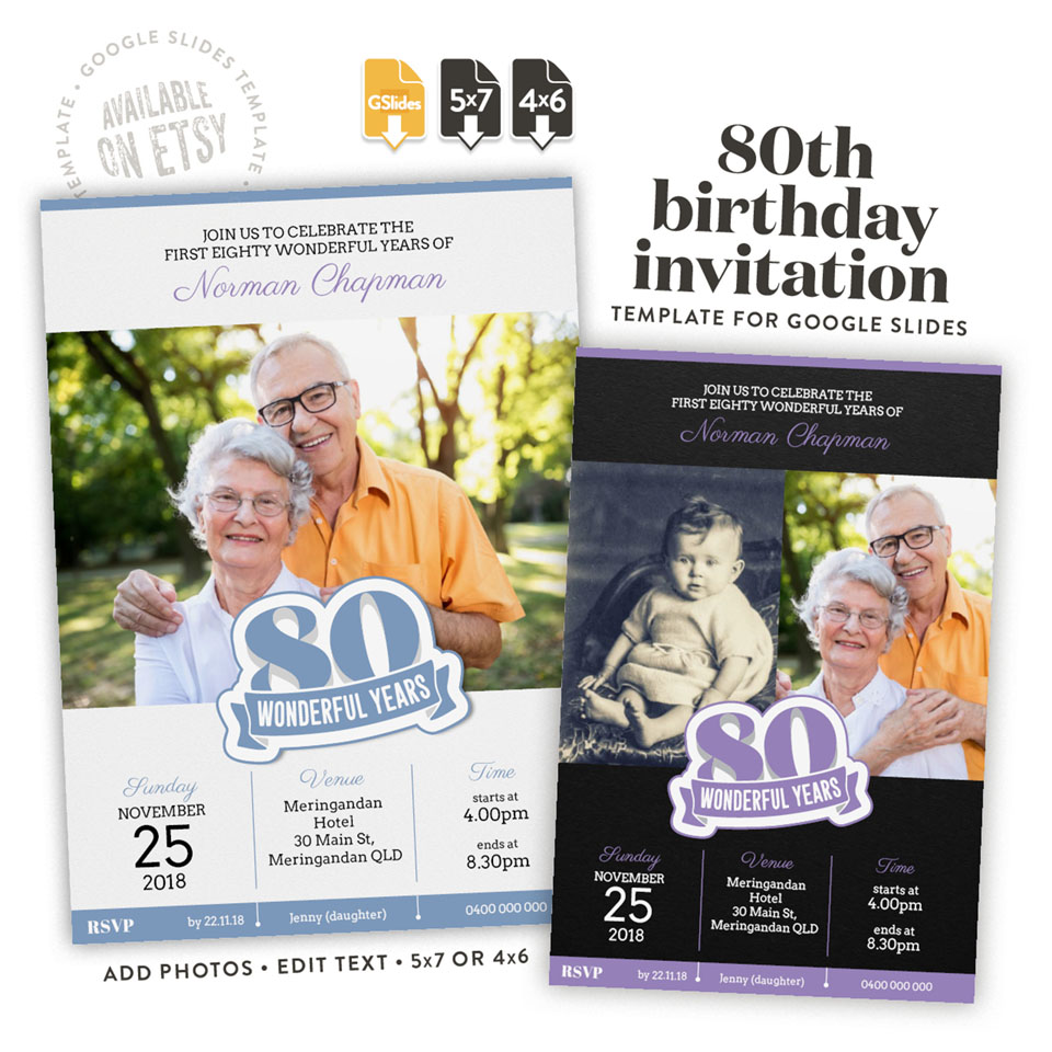 80 wonderful years – a 80th birthday invitation template for Google Slides available on etsy in 4x6 and 5x7