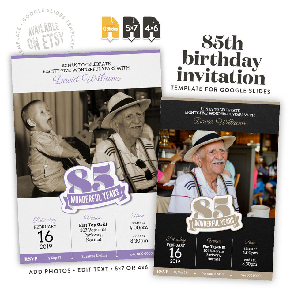 85 wonderful years – a 85th birthday invitation template for Google Slides available on etsy in 4x6 and 5x7