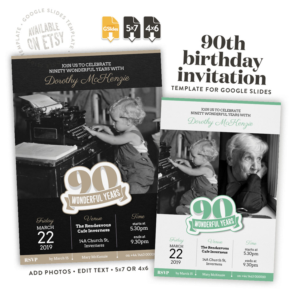 90 Wonderful Years A 80th Birthday Invitation Template For Google Slides Available On Etsy In