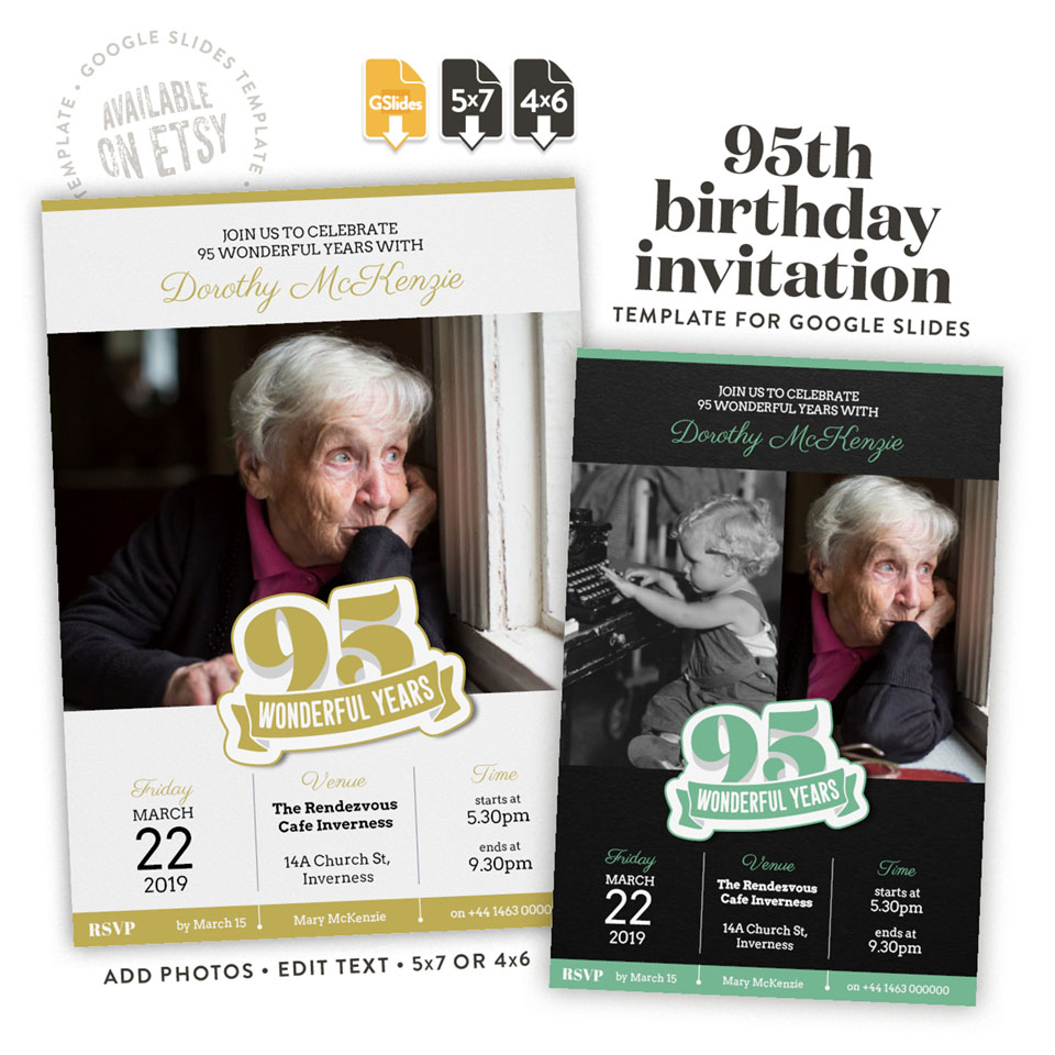 95 wonderful years – a 85th birthday invitation template for Google Slides available on etsy in 4x6 and 5x7