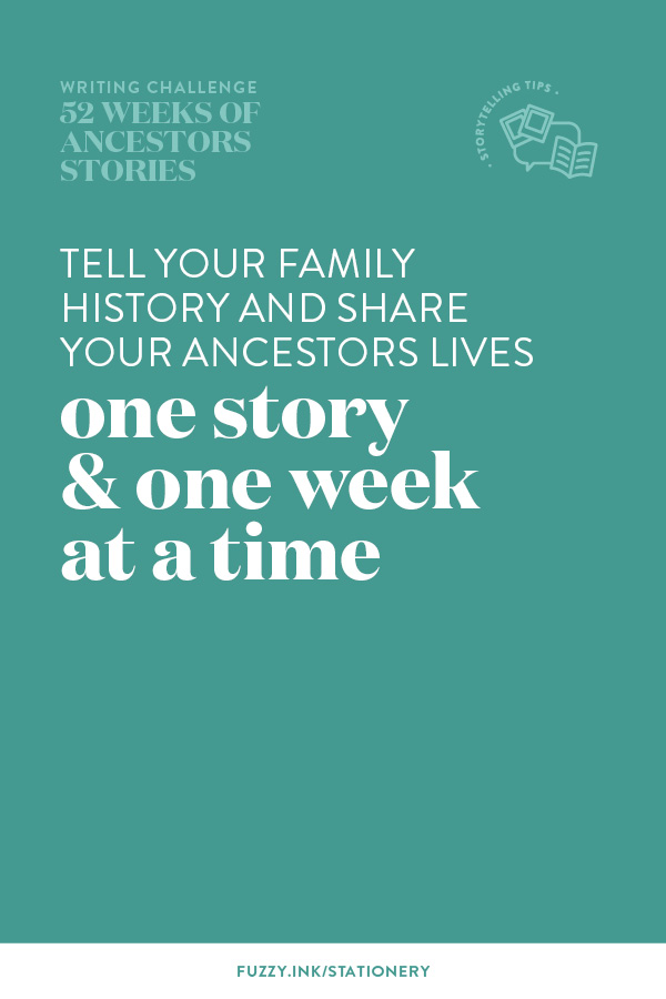 Writing tip for 52 weeks of writing ancestors stories – tell your family history and share your ancestors lives one story and one week at a time