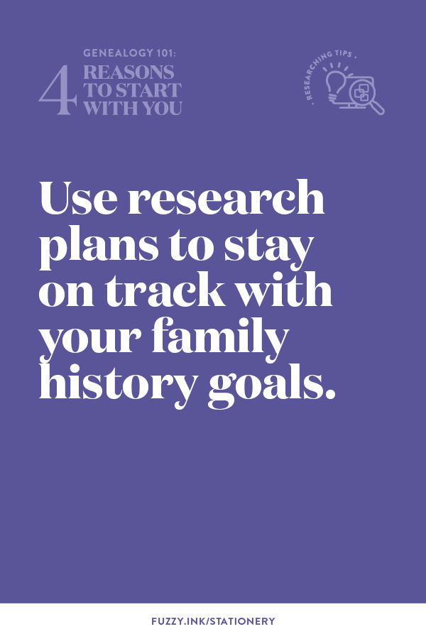 Use research plans to stay on track with your family history goals.