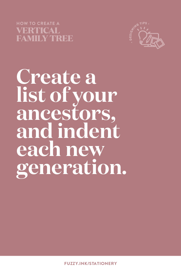 Create a list of your ancestors and indent each new generation.