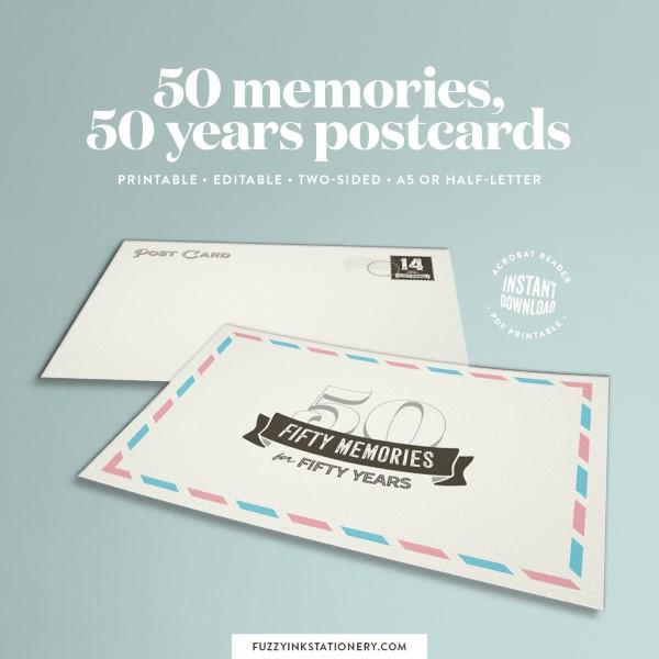 Collect memories on 50 memories, 50 years milestone memory postcards