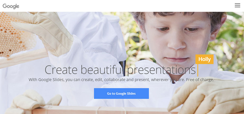 Google Slides home page for creating family history books