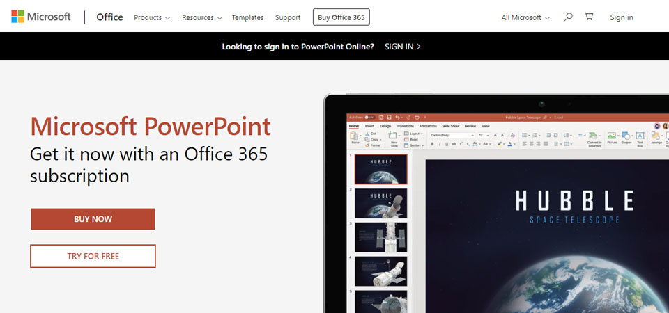 Microsoft PowerPoint product page for creating family history books