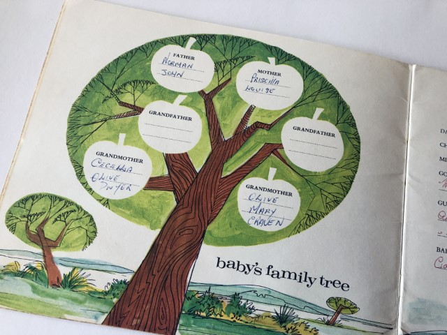 Baby's Family Tree page in Heinz Baby Book
