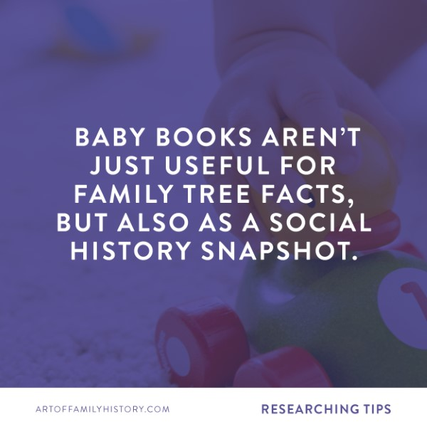 Fuzzy Ink Stationery | Researching Tips | Baby books aren't just useful for family tree facts, but also as a social history snapshot #familyhistory #babybook #storytelling #researching