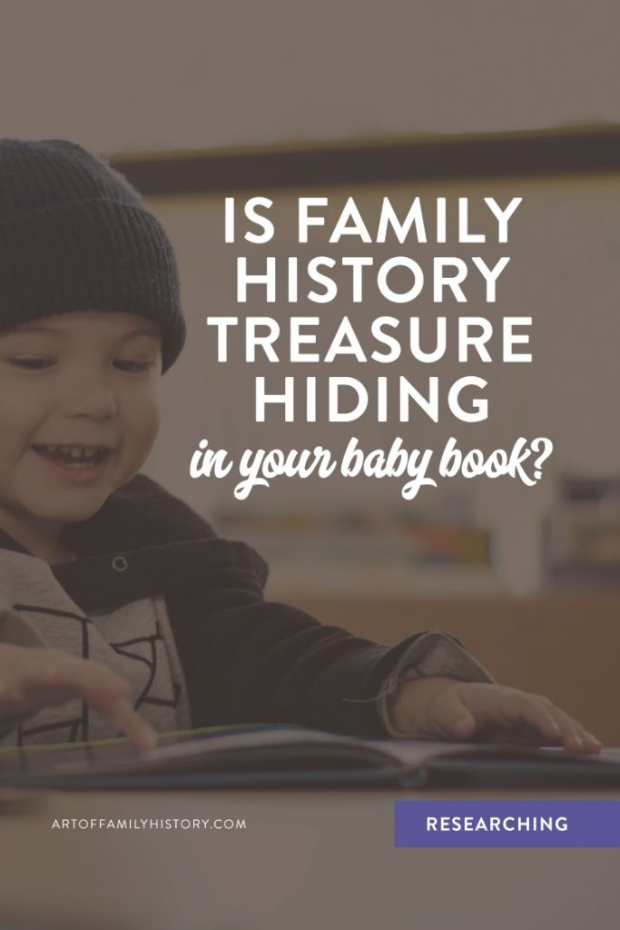 Fuzzy Ink Stationery | Researching Tips | Is Family History Treasure hiding in your baby book? #familyhistory #babybook #storytelling #researching