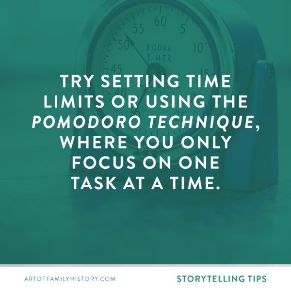 Fuzzy Ink Stationery Storytelling tip: Try setting time limites or using the Pomodoro Technique, where you only focus on one task at a time.  #familyhistory #writing #storytelling #pomodoro