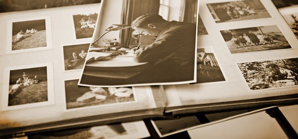 vintage albums of pictures ready to identify family photos