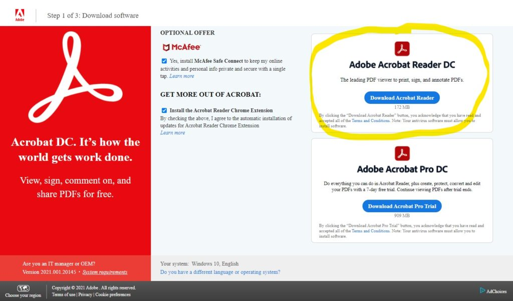 Screenshot of the Acrobat Reader website