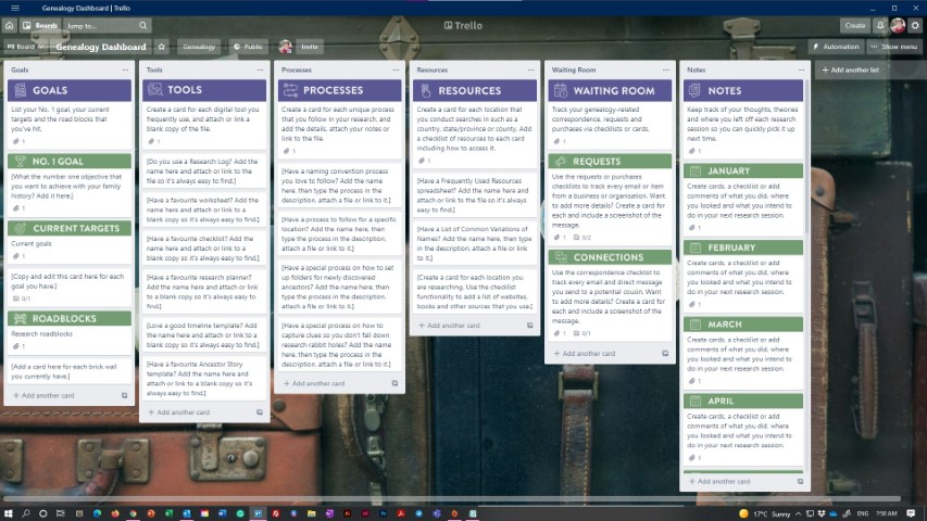 An example of a Genealogy Toolkit Dashboard in Trello
