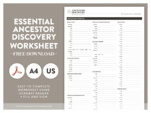 Essential Ancestor Discovery Worksheet